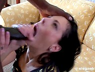 Black dude came just in time to receive deepthroat blowjob by brunette and shove huge dick inside her sissy 6