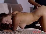 Alluring lassie got hands and feet tied before having both holes stimulated with adult toys 4