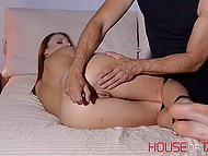 Alluring lassie got hands and feet tied before having both holes stimulated with adult toys 7