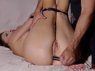 Alluring lassie got hands and feet tied before having both holes stimulated with adult toys 9