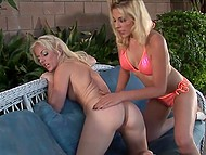 Blonde MILFs Angela Stone and Genesis Skye took dildo and went to masturbate in backyard 3