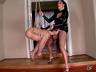 Twisted mistress hanged up her slave girl and took pleasure of seeing her suffering 5