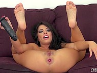 Coleen shattered hard her huge pussy and wide asshole with big black dildo 11