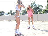 Chicks went out for a joy skate and during that shoved fingers in their pussies 5
