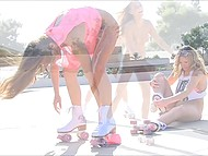 Chicks went out for a joy skate and during that shoved fingers in their pussies 6