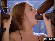 Red-headed girl needs to cope with two black guys to prove her devotion for sorority 5