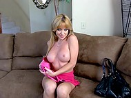 Full-breasted porn actress Angela Sommers just entered her apartment and started to seek dildo immediately 4