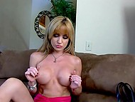 Full-breasted porn actress Angela Sommers just entered her apartment and started to seek dildo immediately 5