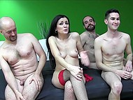 Three men pitched in to call prostitute and fucked her well in mouth, ass and pussy