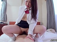 Hairy vagina of Japanese student was satisfied by boner and vibrator at the same time 6