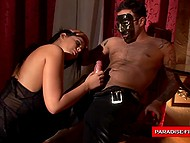 Dude got in through window, fucked awesome brunette in mouth and jizzed on her face 4