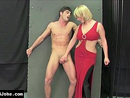 Blonde-haired dame in red dress gave handjob to submissive guy who came over pantyhose 4