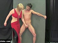 Blonde-haired dame in red dress gave handjob to submissive guy who came over pantyhose 8