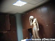 Girls and women who get dressed after taking shower are recorded on hidden camera set in the locker room 10