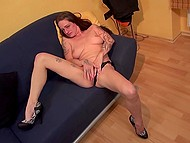 Mature whore teases her smooth-shaved cunt with manicured fingers being in proud loneliness 7