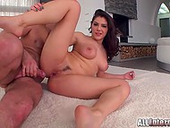 Brunette seduces man and gets hard cock in tight pussy for her own gladness 6