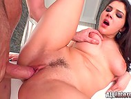 Brunette seduces man and gets hard cock in tight pussy for her own gladness 9