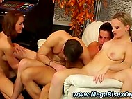 Dissolute bisexual party with boys and girls sucking and getting fucked to music 8