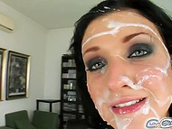 Group blowjob performed by an awesome brunette with cumshot on the face 11