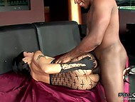 Pervert exhausted Asian girl shoving different objects in her anus including his big cock 8