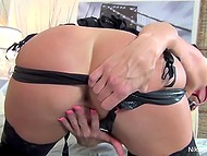 Buxom mistress is left without her slave today but she can satisfy herself at easy 7