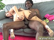 Today hottie's got a black boyfriend visiting her and they are using this chance to fuck 7