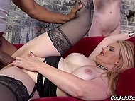 Skinny husband can't say a word and just looks at her chubby wife getting fucked by black guy with massive cock 4