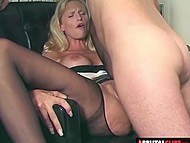 Boss tore big-boobied secretary's pantyhose and put dick in both of her caves on office table 4