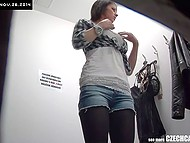 Lustful salesman installed hidden cameras in the dressing room to enjoy hot bodies of Czech girls 11