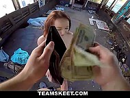 Pickup master lured light-brained redhead in abandoned building and fucked her pussy for a thousand bucks 11