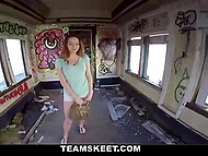 Pickup master lured light-brained redhead in abandoned building and fucked her pussy for a thousand bucks 4
