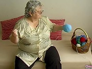 Old woman found dildo among wool balls in basket for knitting and brought it in action immediately 7