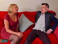 Skinny young guy likes sex with mature women and tries his best to satisfy them 7