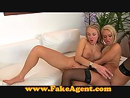 Two concupiscent MILFs caress each other and satisfy agent at the porn casting 8
