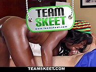 Attractive dark-skinned chick rides boner and gets satisfacion when guy cums on her face 5