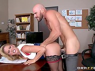 Fucking boss Cherie Deville on the desk was the only solution for employee to persuade her not to fire colleague 5
