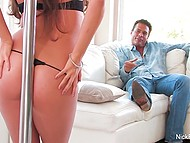 Smiling babe wiggles by the pole looking for older admirer's attention and gets his rod in trimmed cunny 4
