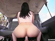 Curvy Latina with pierced pussy and nipples earned some cash for banging in bus on the move 6