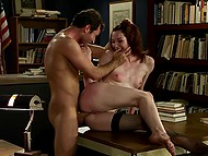 Handsome reader didn't bring book back in time, so red-haired librarian forced him to fuck tiny ass 11