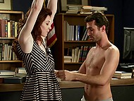 Handsome reader didn't bring book back in time, so red-haired librarian forced him to fuck tiny ass 5