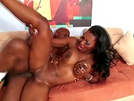 Pretty dark-skinned chick satisfied boyfriend with blowjob and worked with her sexy body 9