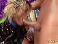 Concupiscent blonde-haired MILF likes to suck dick after vigorous masturbation with dildo 10
