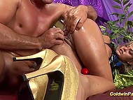 Concupiscent blonde-haired MILF likes to suck dick after vigorous masturbation with dildo 8