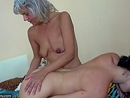 Middle-aged lesbian fucked young girl with strapon and in the end their friend joined them 10
