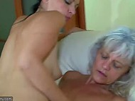 Middle-aged lesbian fucked young girl with strapon and in the end their friend joined them 6