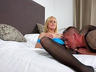 Buddy tore pantyhose of big-tittied blonde to bang her madly and creampie rosy pussy 4
