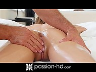 Impatient client manages to oil her slender body before masseur comes, so he immediately started the treatments 8