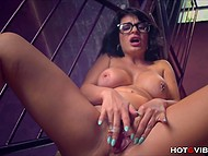 Black-haired babe with glasses was filming herself while was polishing neat cunny with vibrating ring 4
