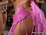 Hungry for sex girls have a good time at Brazilian party with some muscled guys 7