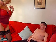 Blonde-haired mature woman seduced young guy and fucked him excellently 6